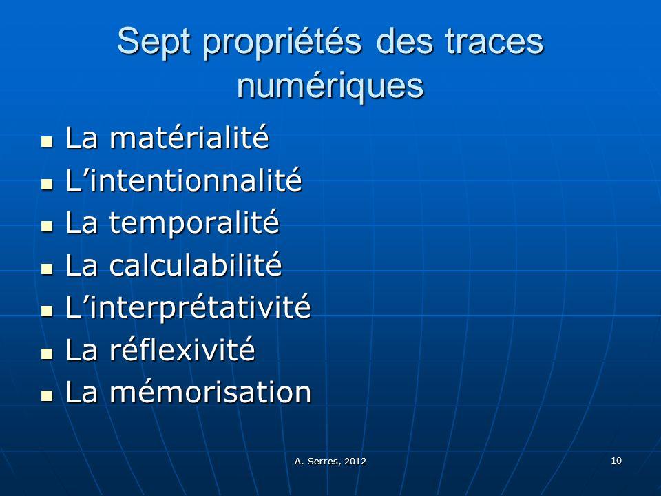 Sept propriétés des traces numériques
