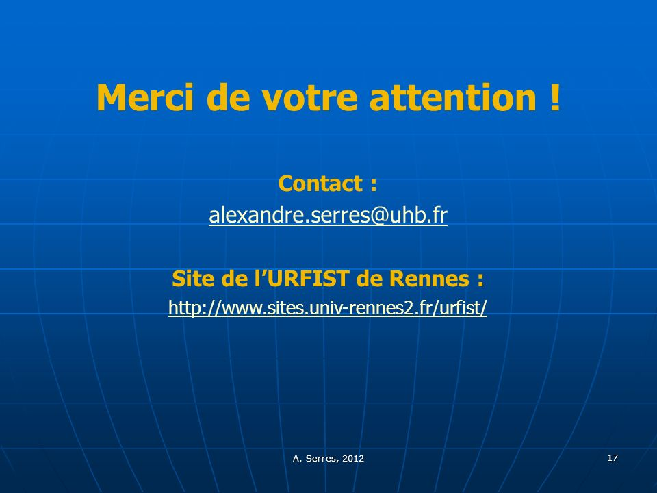 Merci de votre attention ! Site de l'URFIST de Rennes :