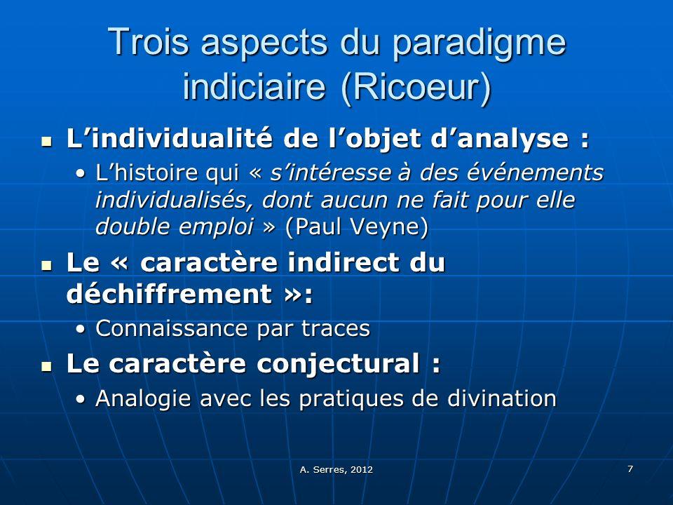 Trois aspects du paradigme indiciaire (Ricoeur)