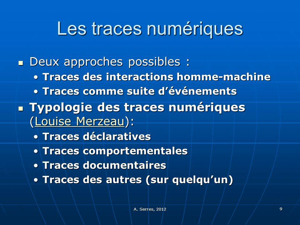 Les traces numériques Deux approches possibles :