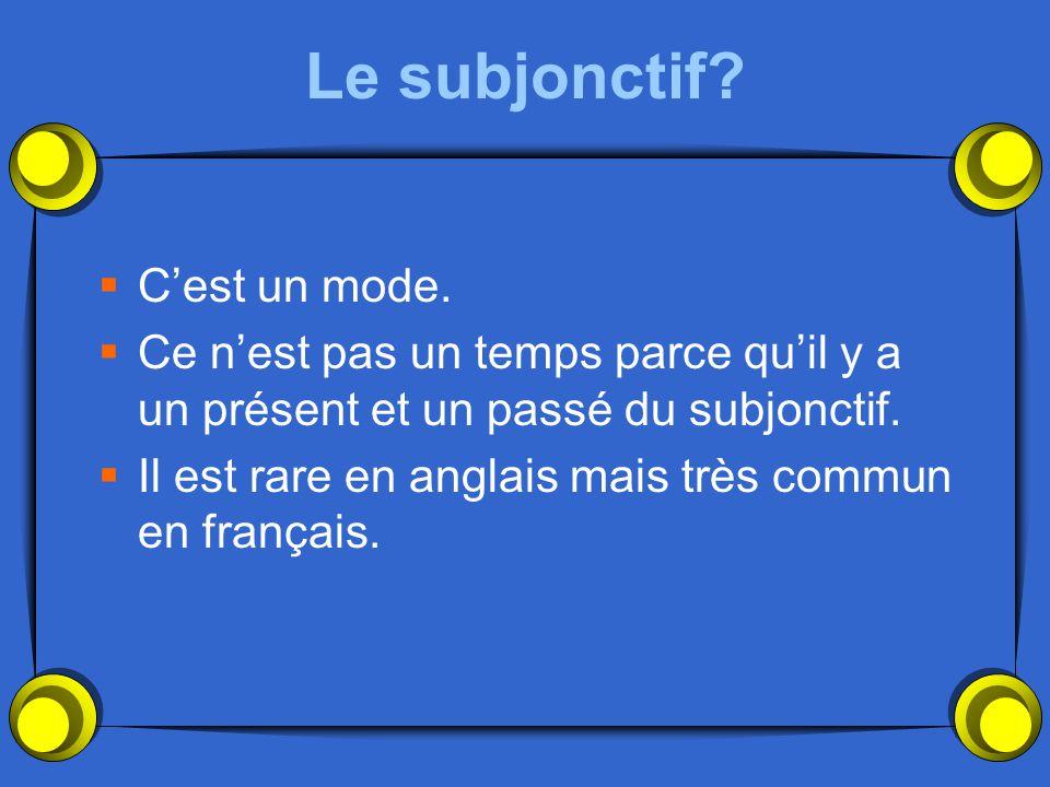 Le subjonctif C'est un mode.