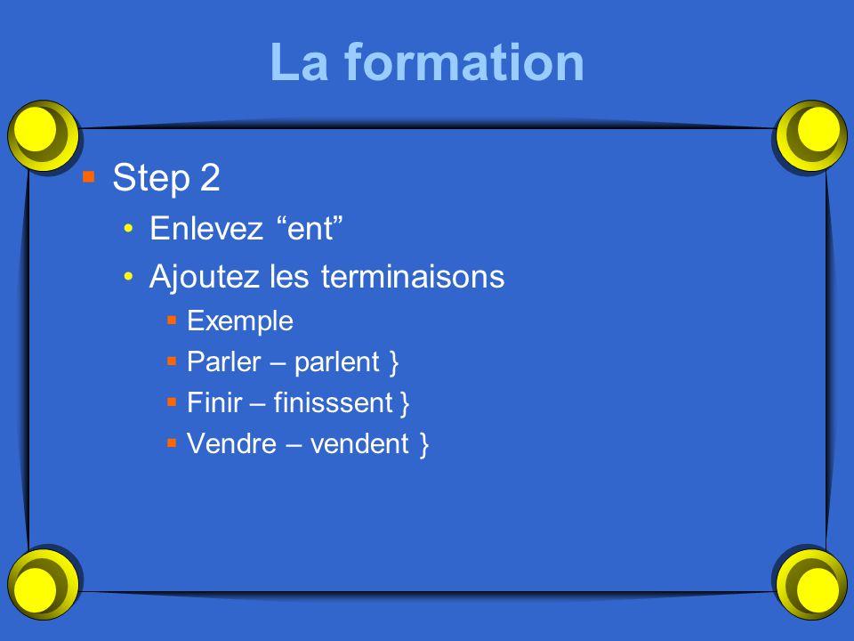 La formation Step 2 Enlevez ent Ajoutez les terminaisons Exemple