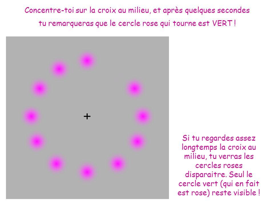 Concentre-toi sur la croix au milieu, et après quelques secondes tu remarqueras que le cercle rose qui tourne est VERT !