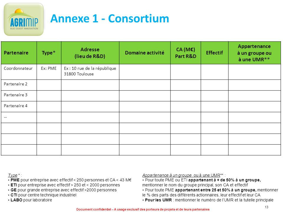 Annexe 1 - Consortium Partenaire Type* Adresse (lieu de R&D)