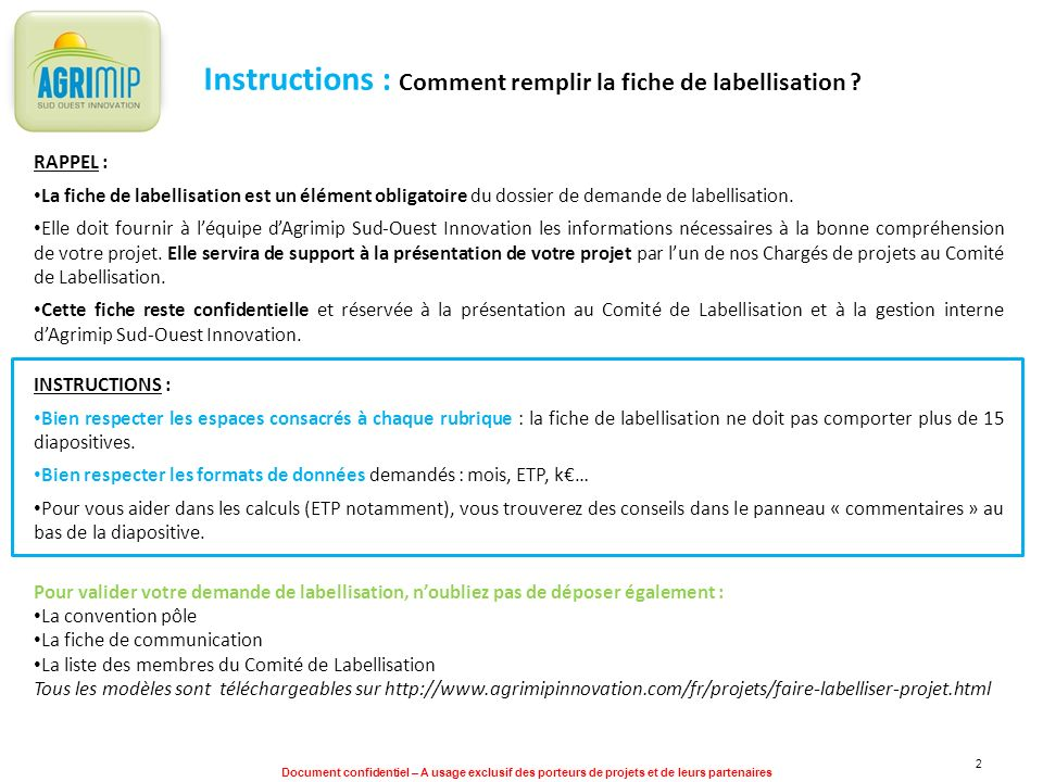 Instructions : Comment remplir la fiche de labellisation