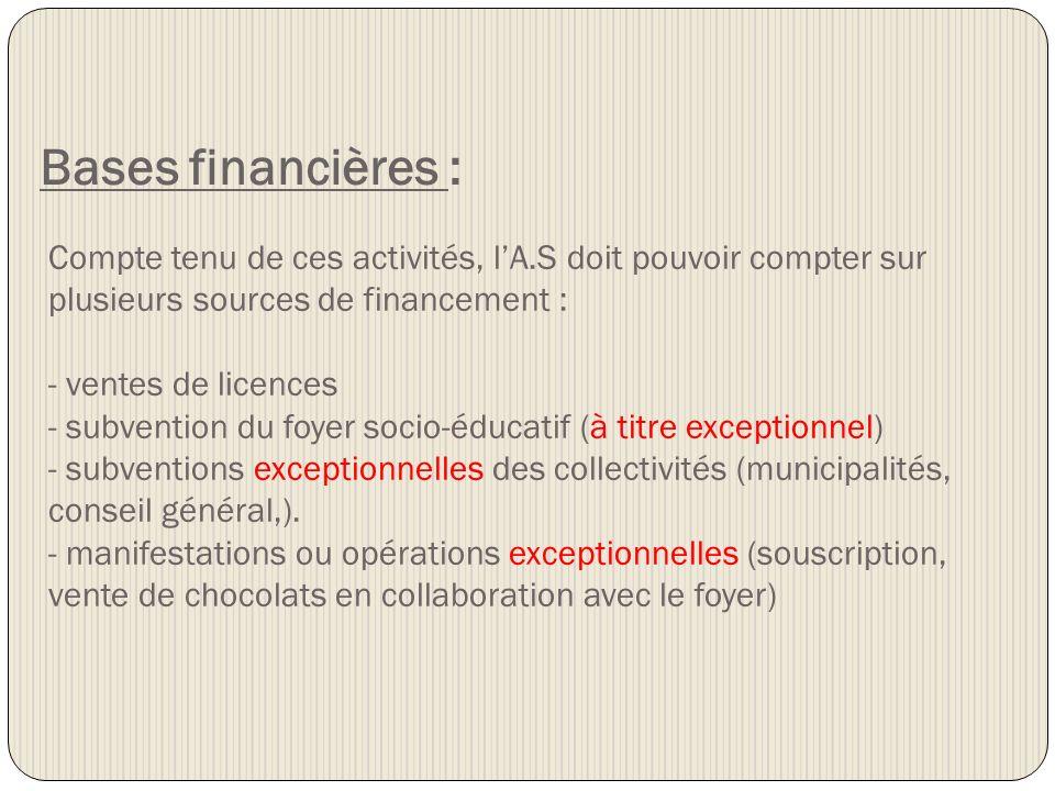 Bases financières :Compte tenu de ces activités, l'A.S doit pouvoir compter sur plusieurs sources de financement :