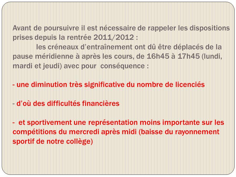Avant de poursuivre il est nécessaire de rappeler les dispositions prises depuis la rentrée 2011/2012 :