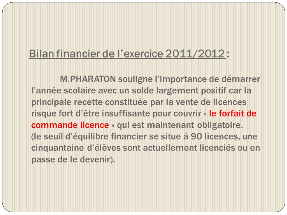 Bilan financier de l'exercice 2011/2012 :