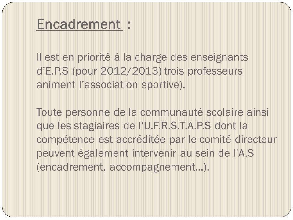 Encadrement : Il est en priorité à la charge des enseignants d'E. P