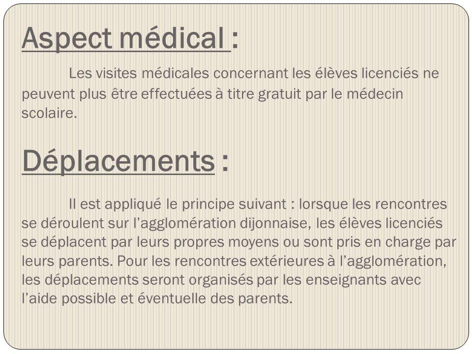 Aspect médical : Les visites médicales concernant les élèves licenciés ne peuvent plus être effectuées à titre gratuit par le médecin scolaire.