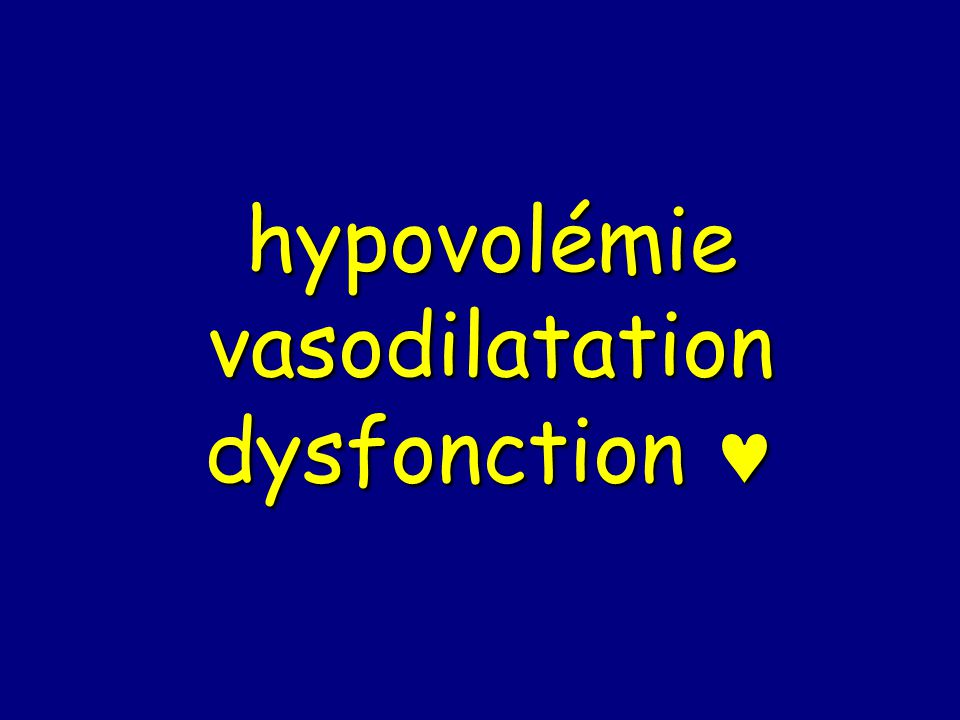 hypovolémie vasodilatation dysfonction 
