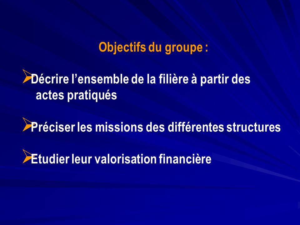Objectifs du groupe : Décrire l'ensemble de la filière à partir des. actes pratiqués. Préciser les missions des différentes structures.