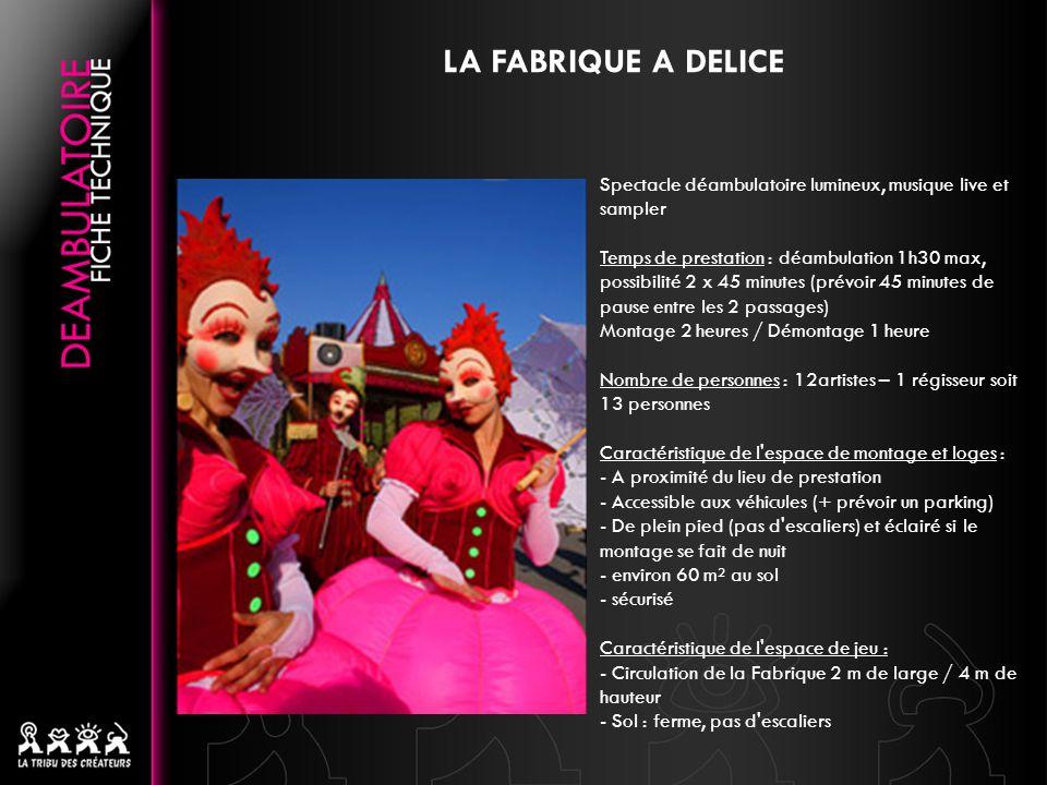 LA FABRIQUE A DELICE Spectacle déambulatoire lumineux, musique live et sampler.