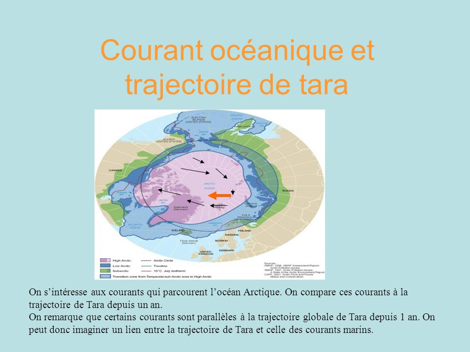Courant océanique et trajectoire de tara