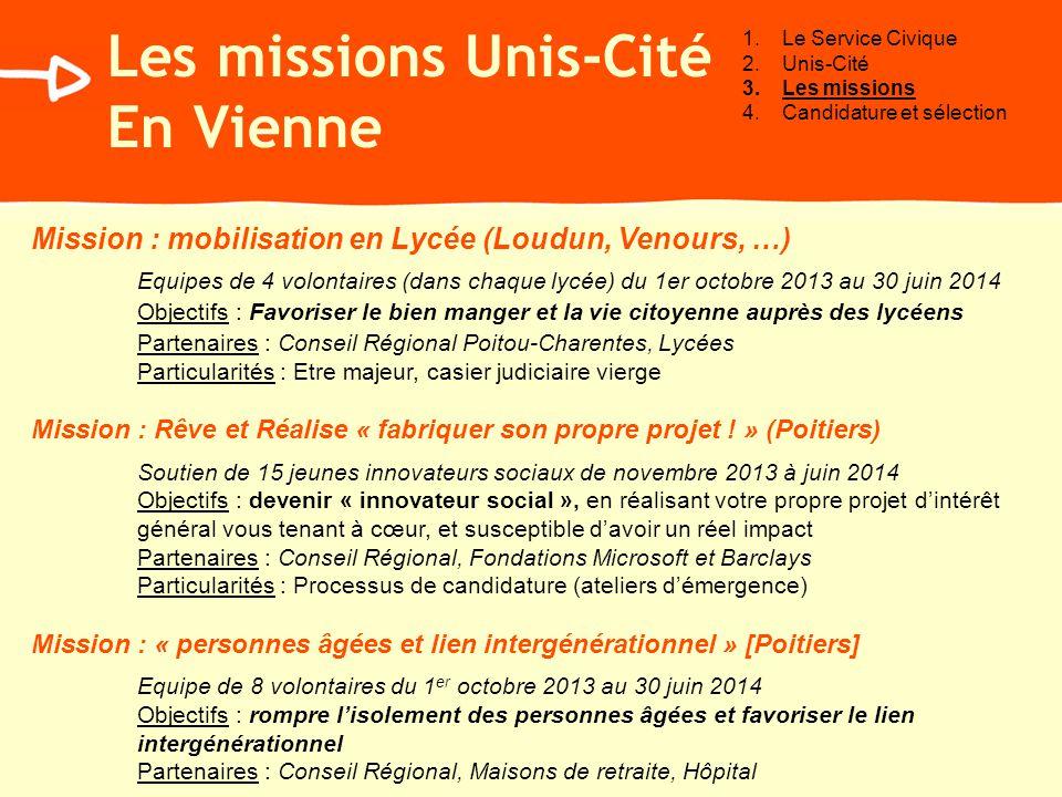 Les missions Unis-Cité En Vienne