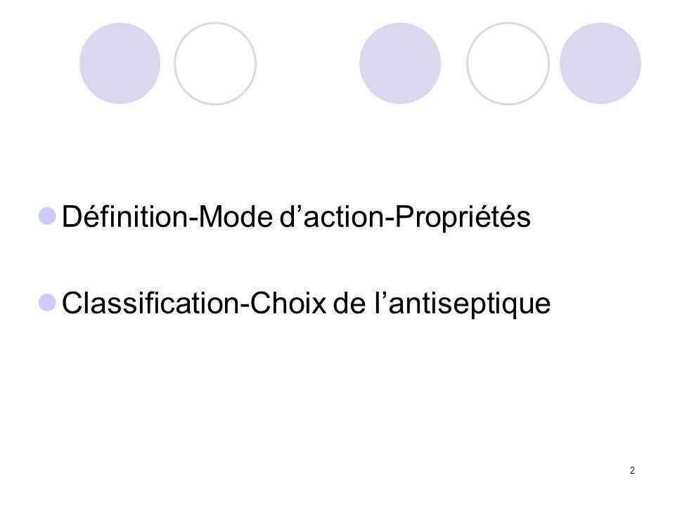 Définition-Mode d'action-Propriétés