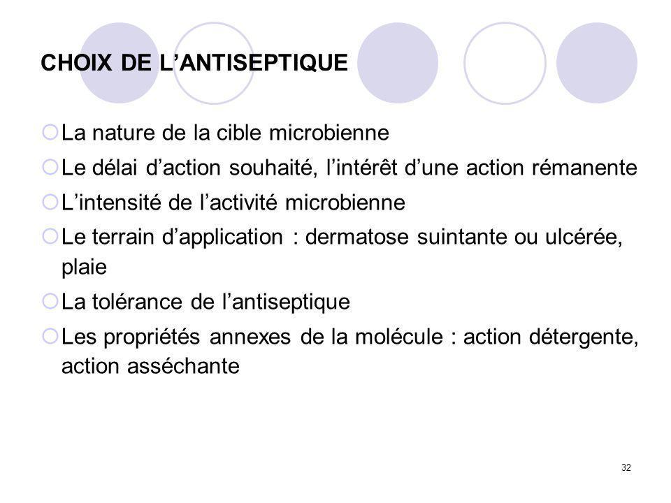 CHOIX DE L'ANTISEPTIQUE