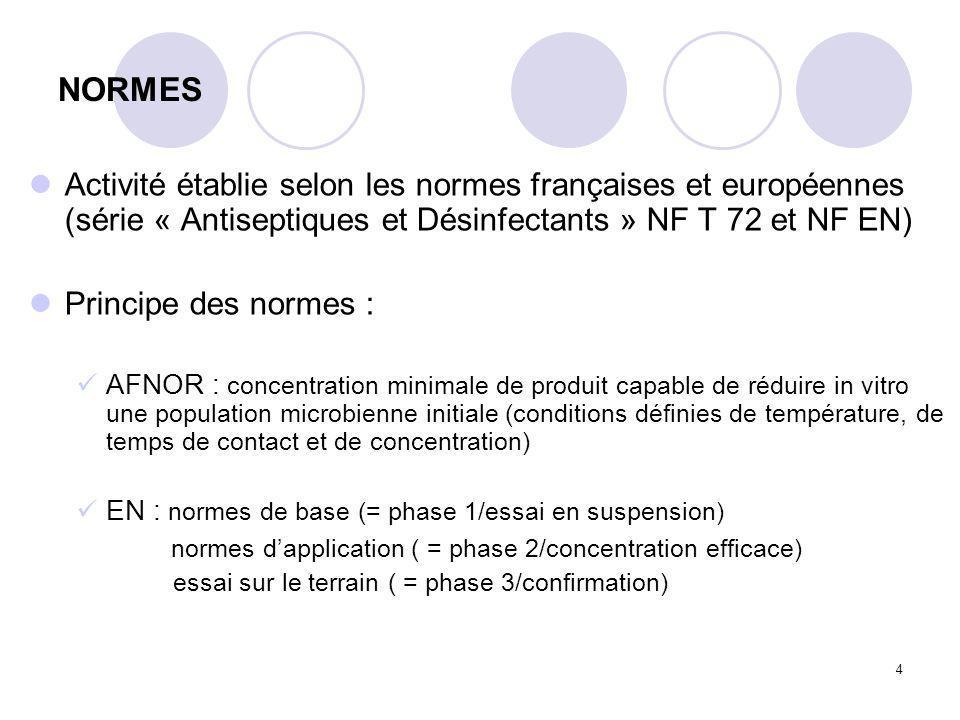 NORMES Activité établie selon les normes françaises et européennes (série « Antiseptiques et Désinfectants » NF T 72 et NF EN)