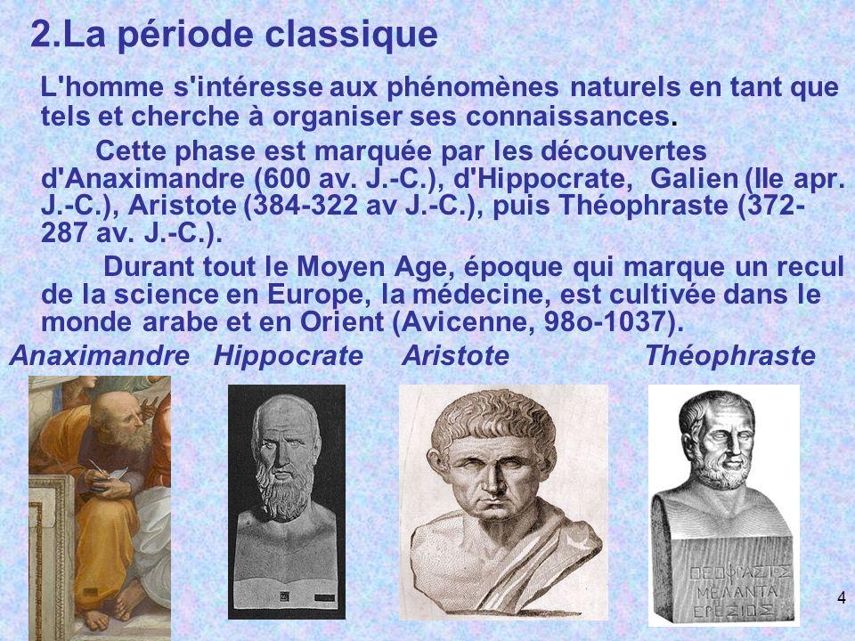 2.La période classiqueL homme s intéresse aux phénomènes naturels en tant que tels et cherche à organiser ses connaissances.