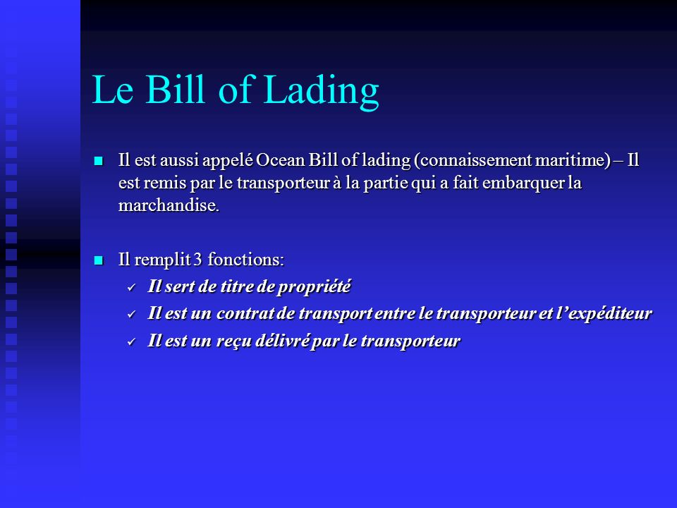 Le Bill of Lading