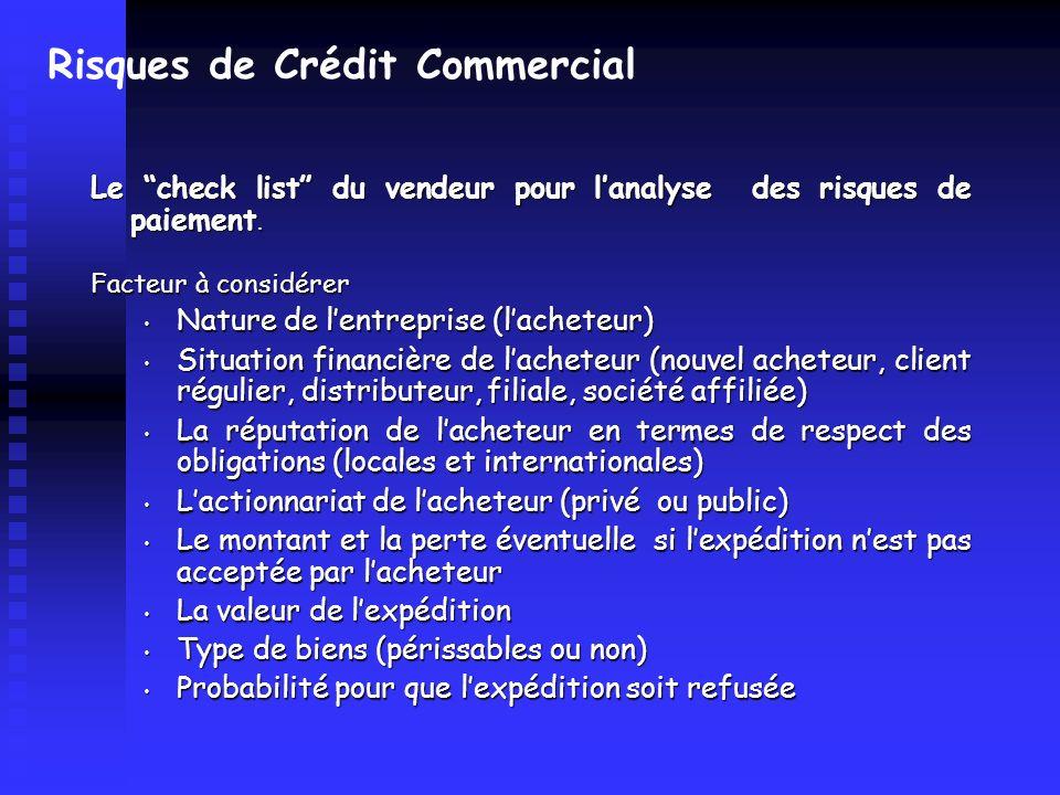 Risques de Crédit Commercial