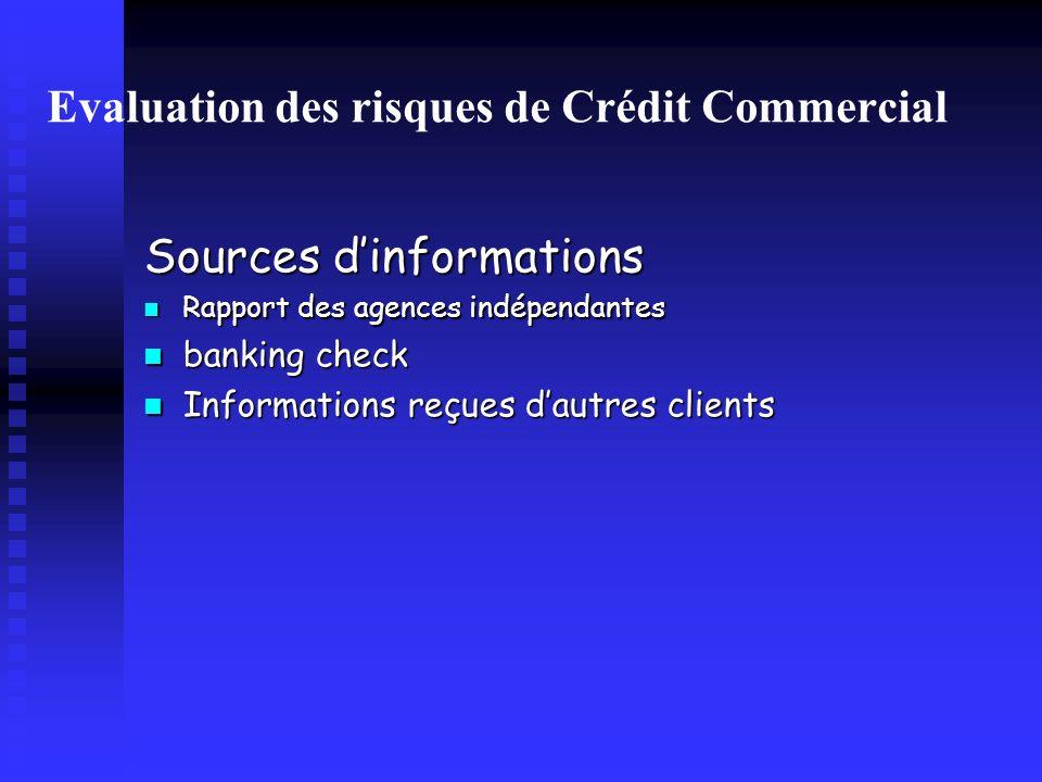 Evaluation des risques de Crédit Commercial
