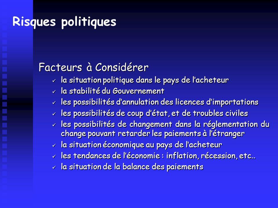 Risques politiques Facteurs à Considérer