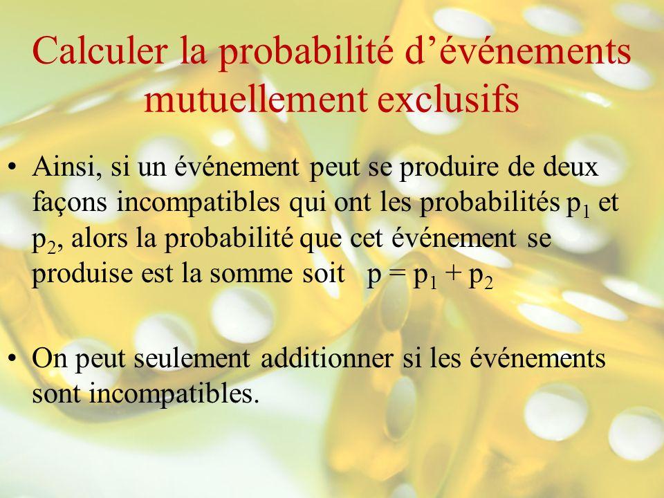 Calculer la probabilité d'événements mutuellement exclusifs