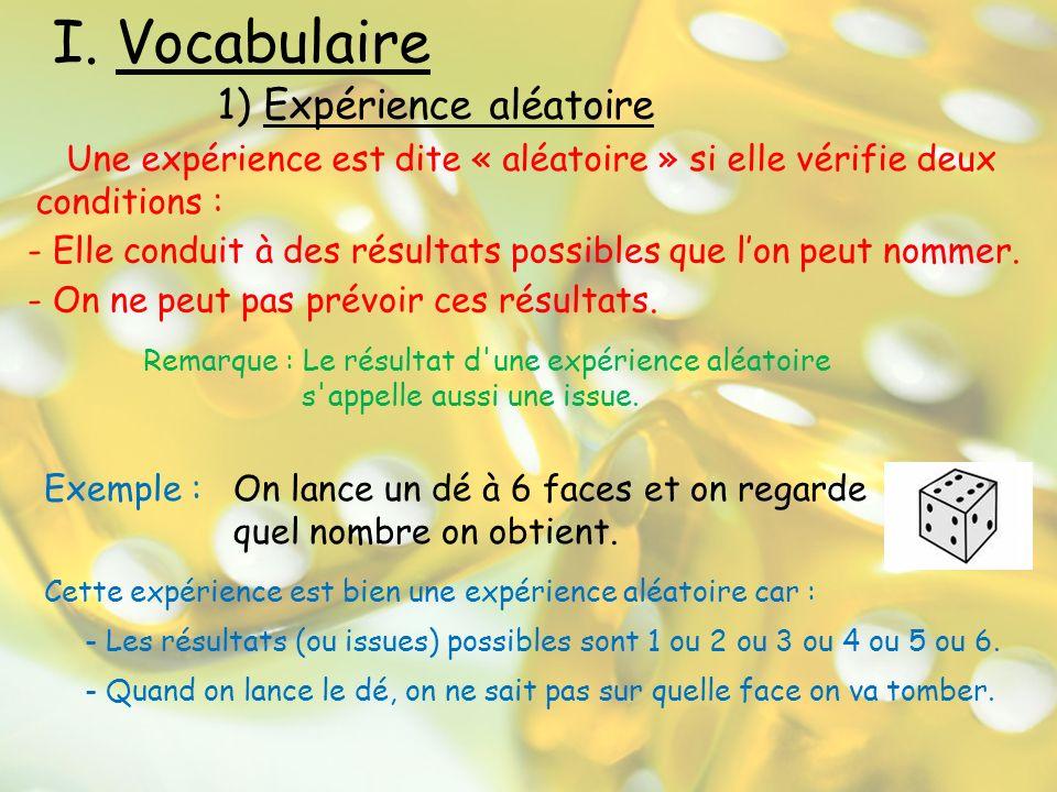 I. Vocabulaire 1) Expérience aléatoire