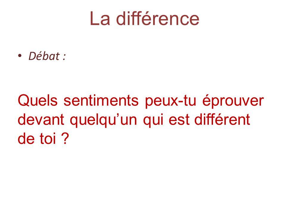 La différence Débat : Quels sentiments peux-tu éprouver devant quelqu'un qui est différent de toi