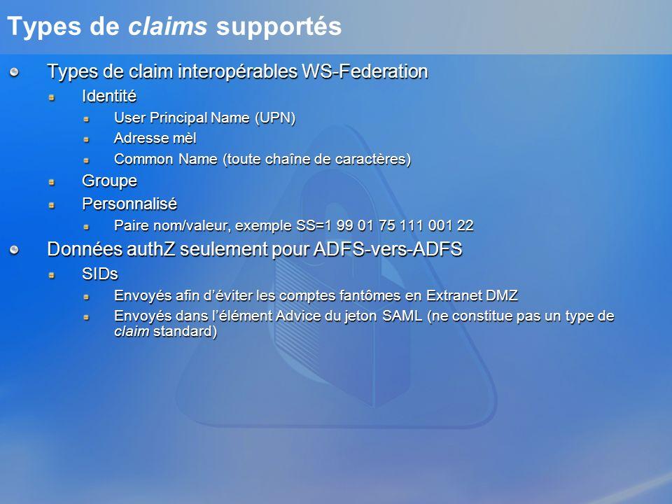 Types de claims supportés