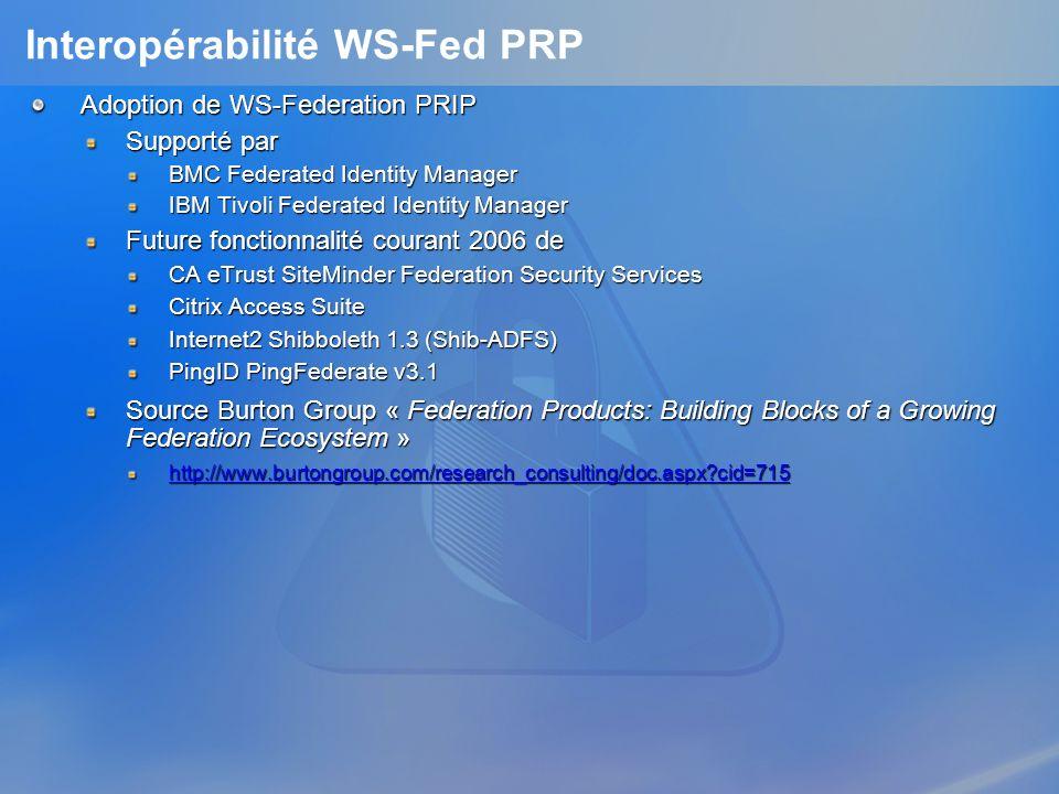 Interopérabilité WS-Fed PRP
