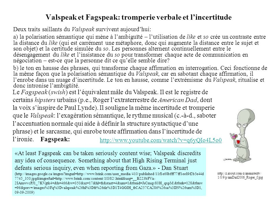 Valspeak et Fagspeak: tromperie verbale et l'incertitude