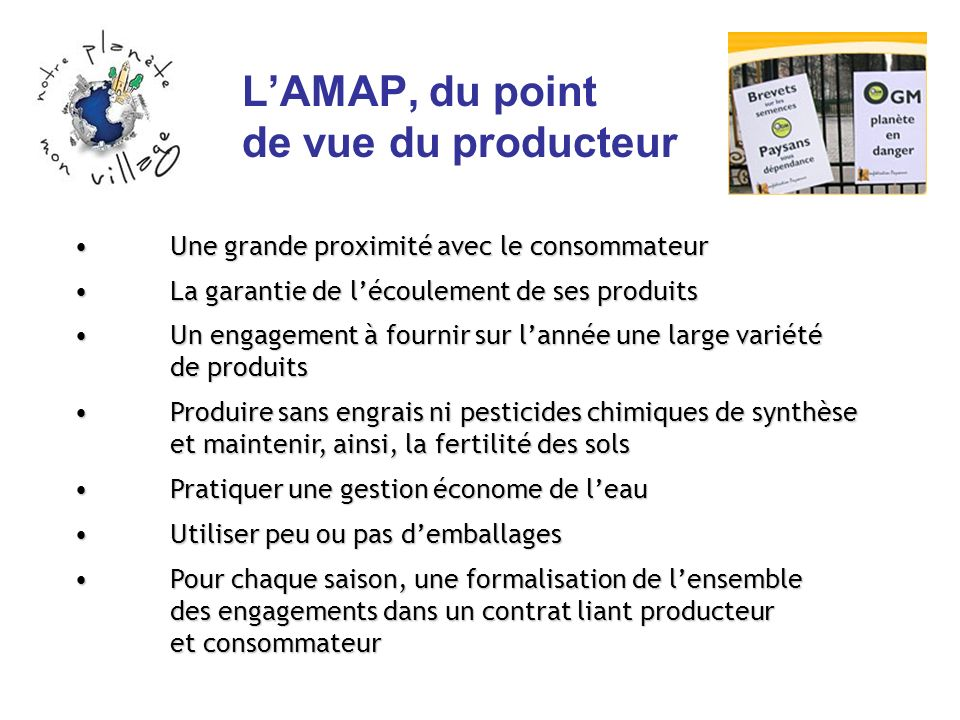 L'AMAP, du point de vue du producteur