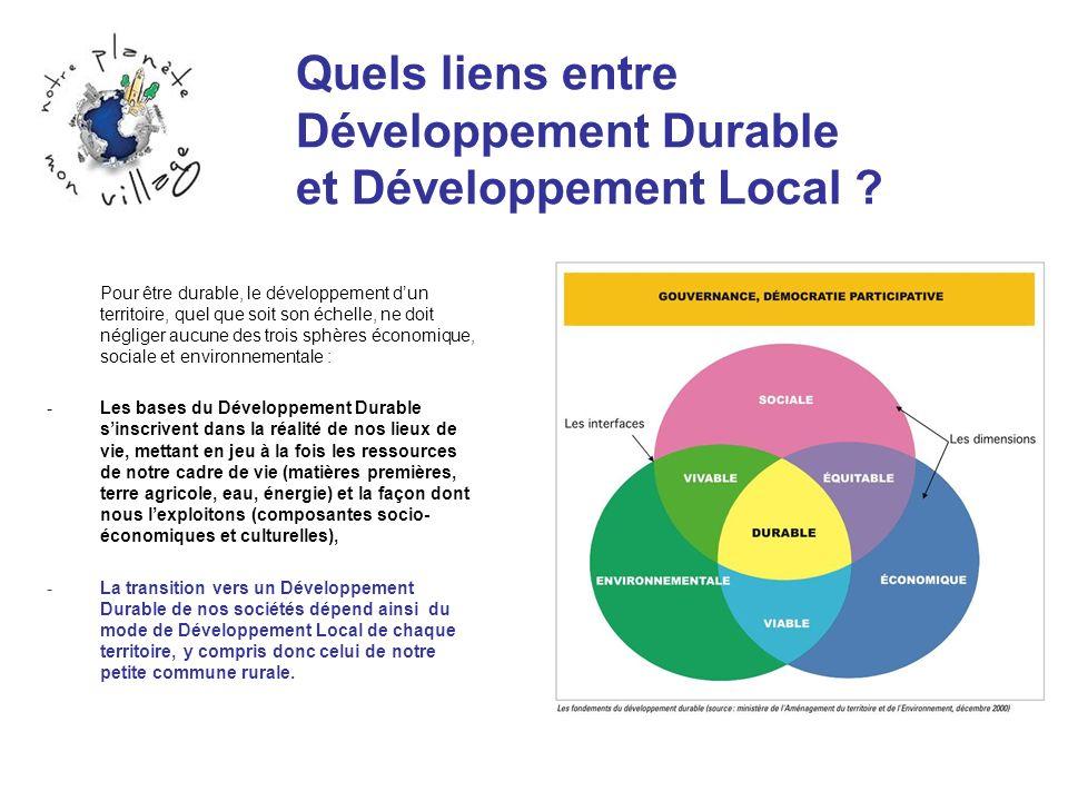 Quels liens entre Développement Durable et Développement Local