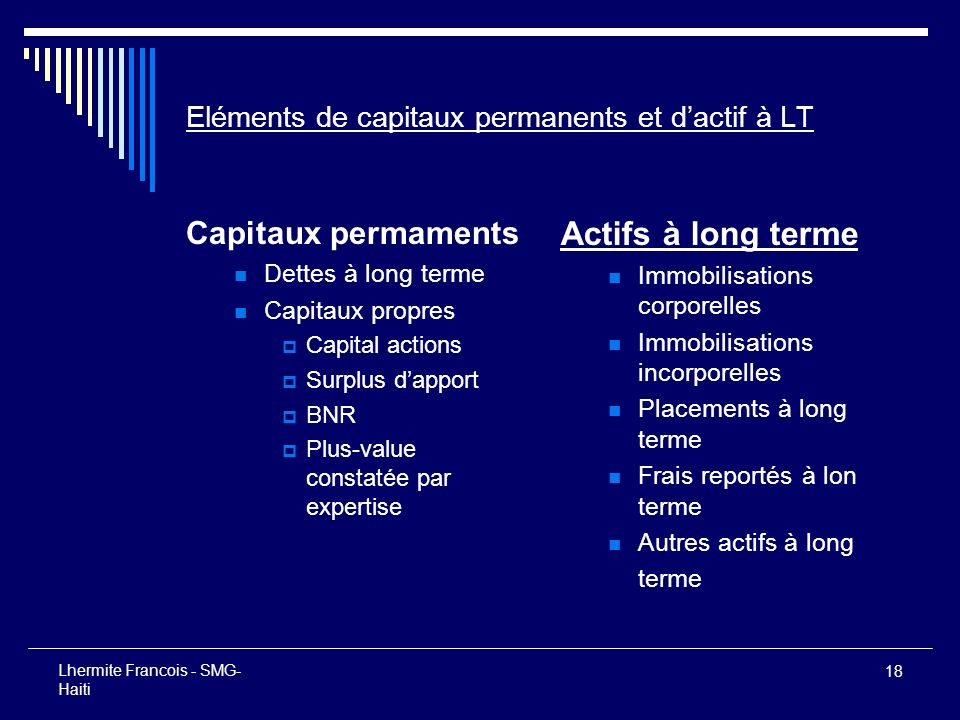 Eléments de capitaux permanents et d'actif à LT