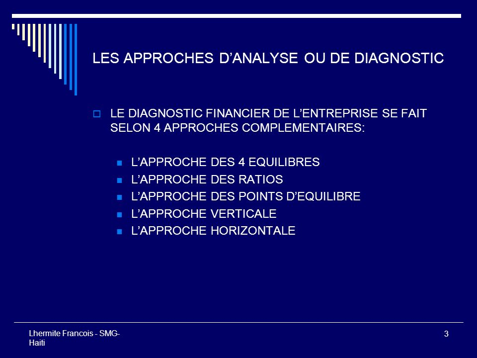 LES APPROCHES D'ANALYSE OU DE DIAGNOSTIC