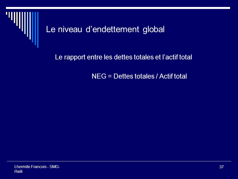 Le niveau d'endettement global