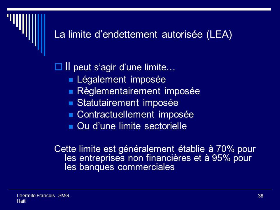 La limite d'endettement autorisée (LEA)