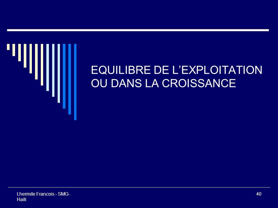 EQUILIBRE DE L'EXPLOITATION OU DANS LA CROISSANCE