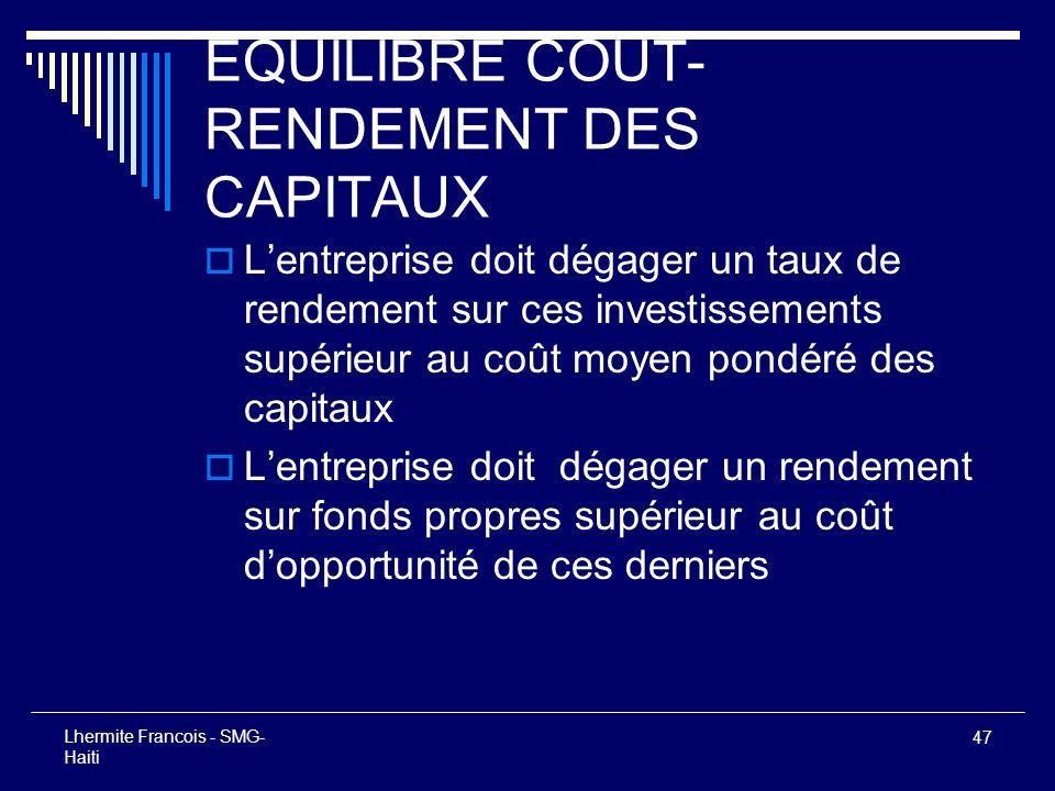 EQUILIBRE COUT-RENDEMENT DES CAPITAUX