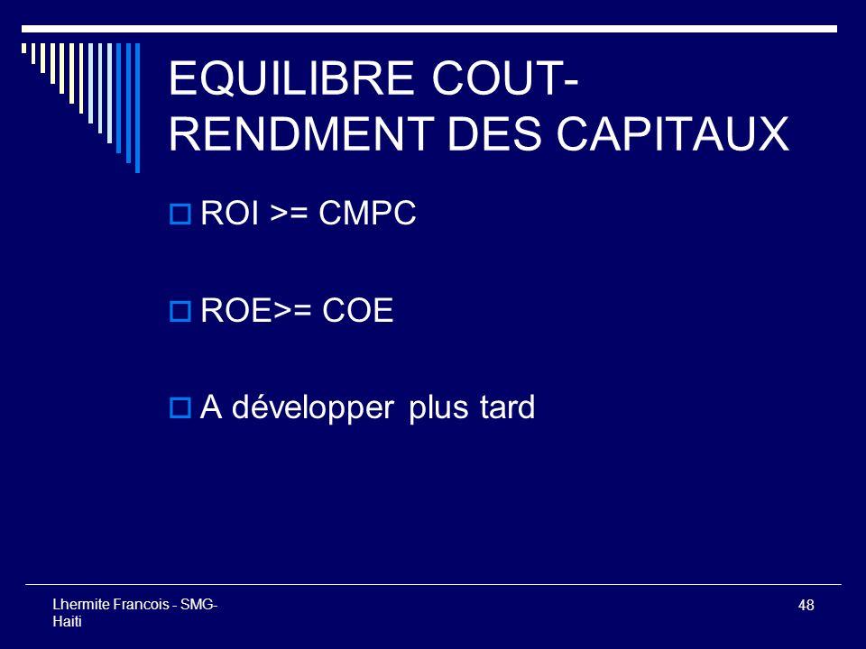 EQUILIBRE COUT-RENDMENT DES CAPITAUX