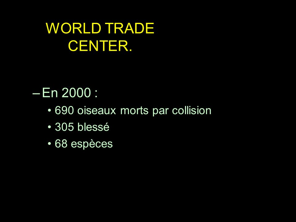 WORLD TRADE CENTER. En 2000 : 690 oiseaux morts par collision