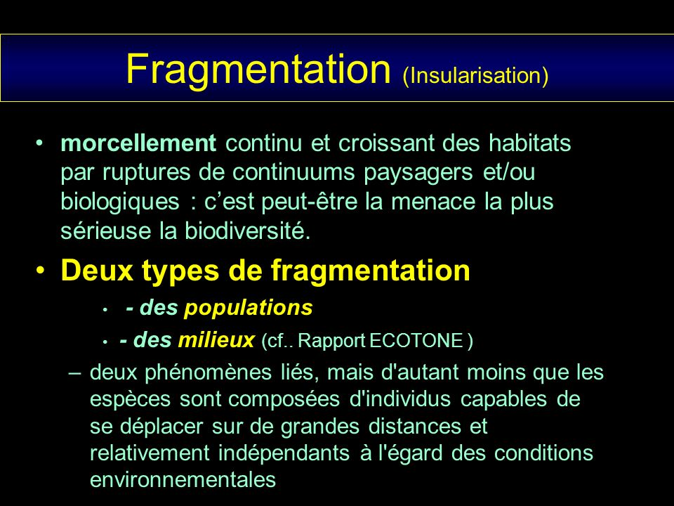 Fragmentation (Insularisation)