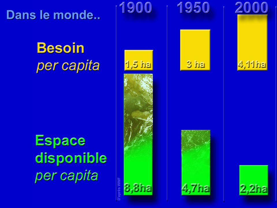 Dans le monde..Les besoins en surface bioproductive accaparée par habitant augmentent alors que la surface disponible diminue.