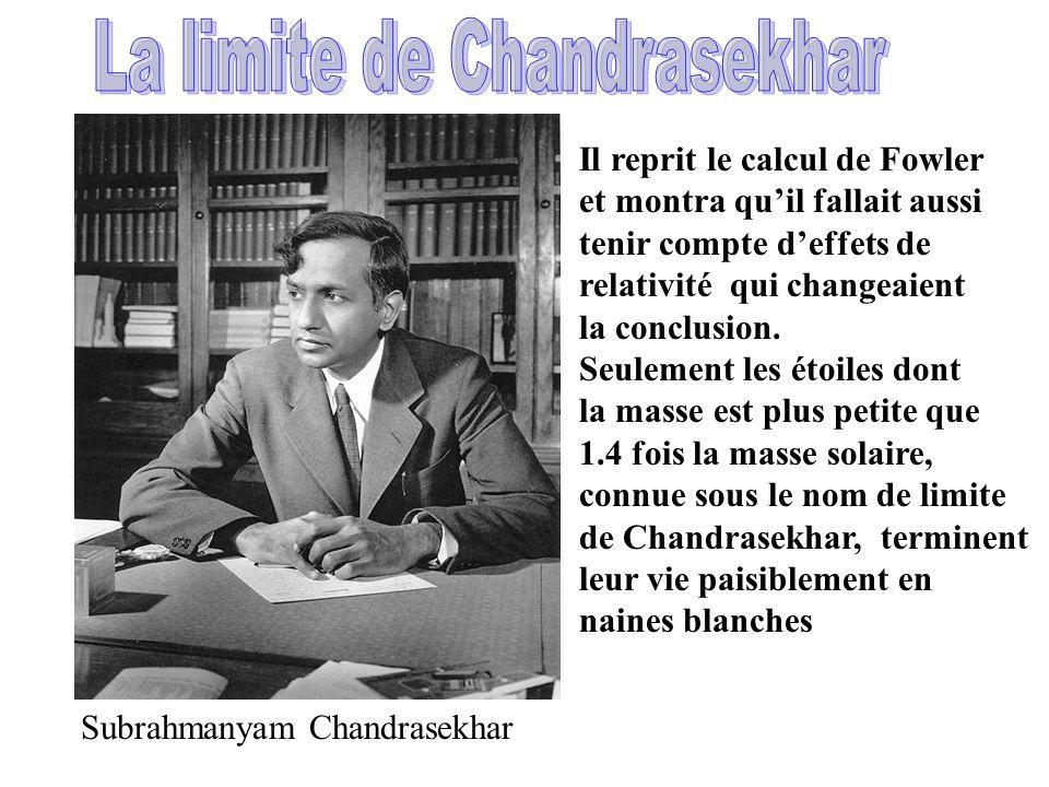 La limite de Chandrasekhar
