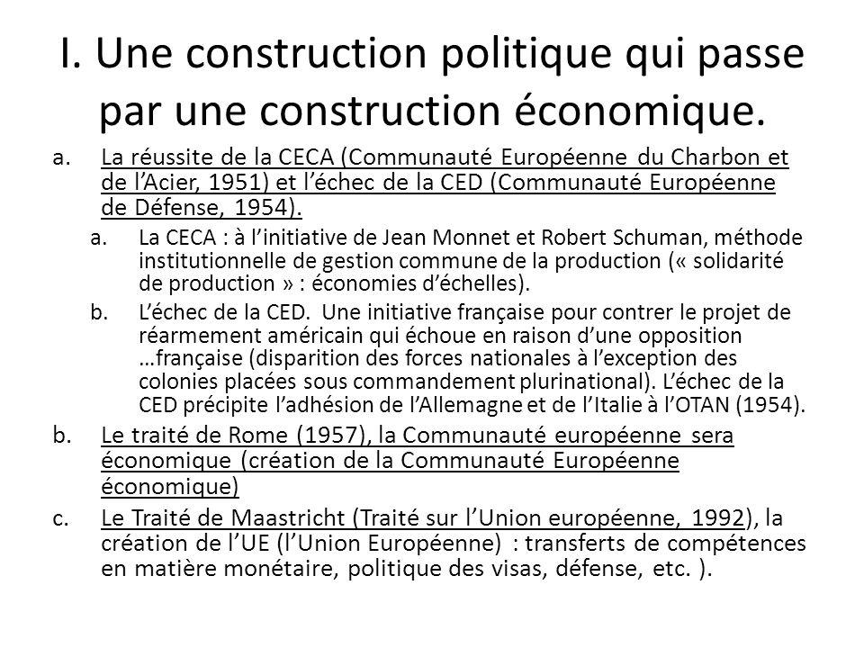 I. Une construction politique qui passe par une construction économique.