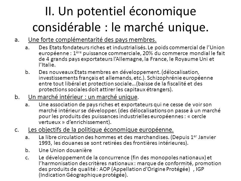 II. Un potentiel économique considérable : le marché unique.