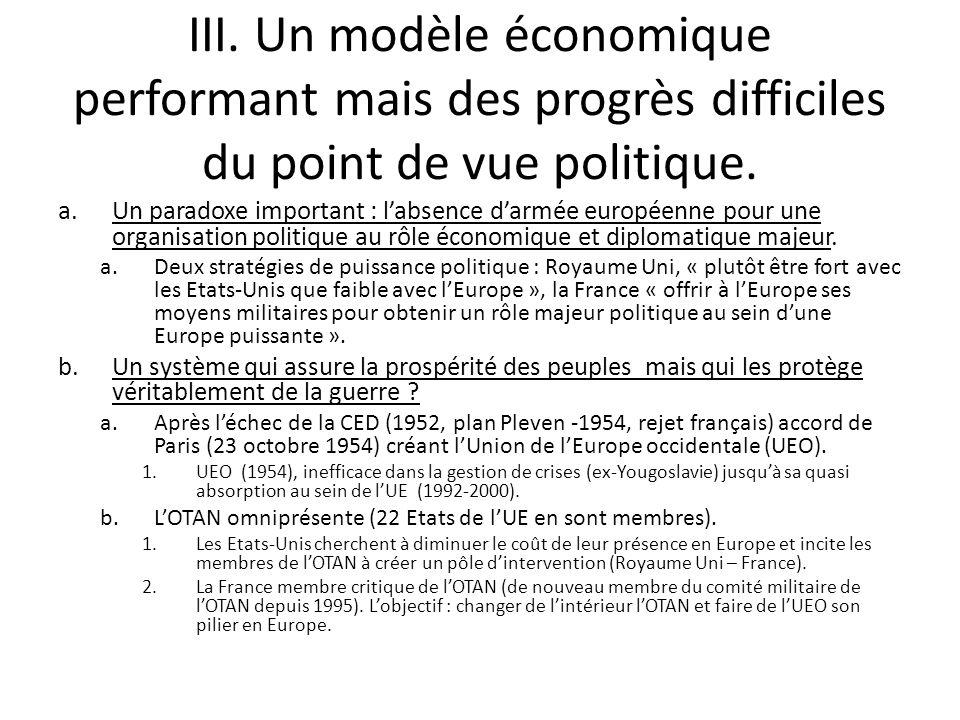 III. Un modèle économique performant mais des progrès difficiles du point de vue politique.