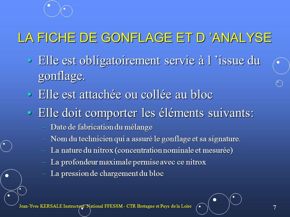 LA FICHE DE GONFLAGE ET D 'ANALYSE